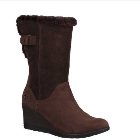 1e7121ec7859 ❤️New Ugg Edelina Grizzle brown Wedge boots sz 7